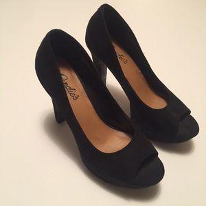 Black Block Peep Toe Heel